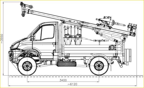 Автомобильная установка H25SI в транспортном положении